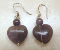 Sterling Silver And Amethyst Heart Drop Earrings.